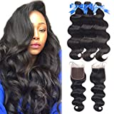 Body Wave 3 Bundles With Closure (14 16 18 with 12,Free Part) 8A 100% unprocessed Body Wave Brazilian Human Hair Weft with Lace Closure Natural Black Body-Wave-Bundles-With-Closure
