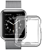 Full TPU Clear Case by Tech Express for Apple Watch Series 1, 2 & 3 W/Screen Protector Built in Corner Protection Bumper Slim Skin [iWatch Cover] Protective Case Shockproof Thin Accessories (38mm)