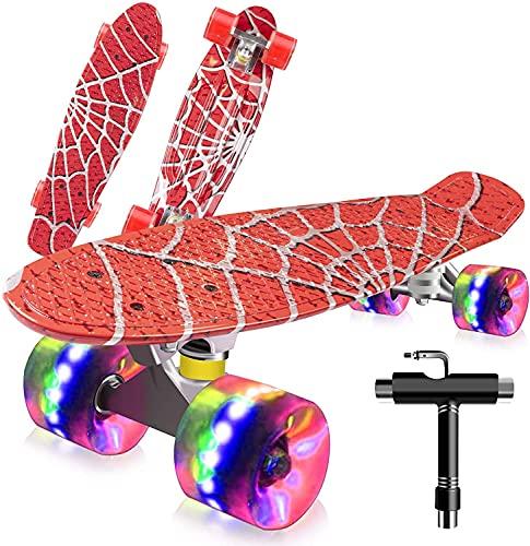 """Monopatín Completo Mini Cruiser Skateboard 22"""" Retro Skate Board para Niños Adolescentes Adultos, Ruedas con Luz LED y Herramienta en T de Patinaje Todo en Uno (Mess Print)"""