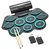 PAXCESS Electric Drum Set 9 Pads Roll-up Practice Electric Drum for Kids Built-in Speakers Drum Set Gift for Kids (Blue)