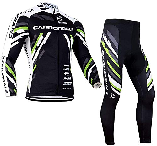Gutsbox Abbigliamento Ciclismo Manica Lunga Giacca da Ciclismo da Uomo con Ciclismo Lunghi Pantaloni Uomo, Antivento Traspirante Giacca Ciclismo