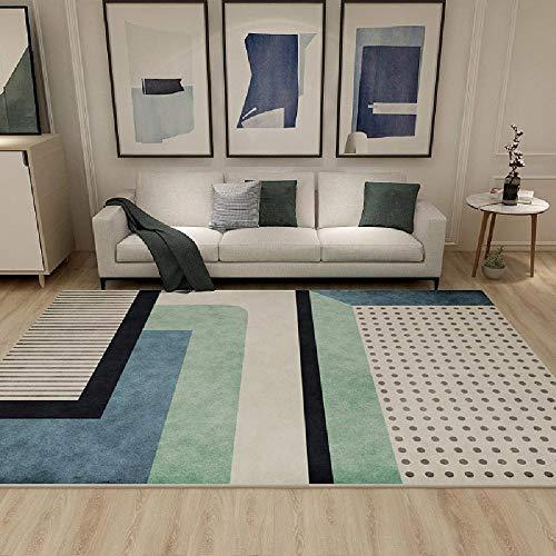 Kunsen La alfombras Decoración del hogar Suelo Alfombras Alfombra Grande de Sala de Estar Moderna de diseño Simple Crema Verde Azul Lavable La Alfombra 160 * 200cm
