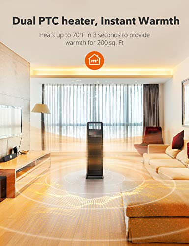 Space Heater, TaoTronics Dual PTC 1500W Portable Electric Heater, Small Fast Quiet Tower Oscillating Ceramic Heater for Office,Desk and Bedroom with adjustable Thermostat, Remote Control, LED Display