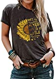 Cicy Bell Women's Sunflower Graphic Letter Print Tops Short Sleeve O Neck Summer Casual Cotton Tee Shirts (Dark Grey,X-Large)