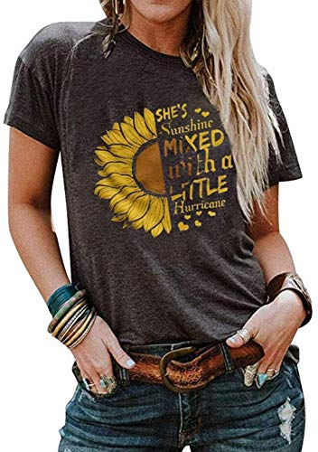 Cicy Bell Women's Sunflower Graphic Letter Print Tops Short Sleeve O Neck Summer Casual Cotton Tee Shirts (Dark Grey,XX-Large)