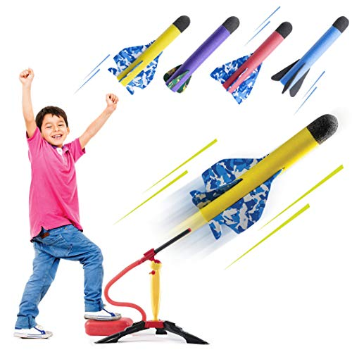 Prextex Toy Rocket Launcher for Kids – Shoots Up to 150 Feet – Colorful Foam Rockets with Stunt Planes and Sturdy Launcher Stand with Foot Launch Pad - Fun Outdoor Toy for Boys and Girls