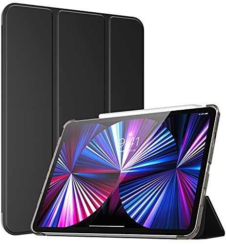 TiMOVO Custodia Protettiva Compatibile con New iPad PRO 11 inch 2021 (3rd Gen), Ultra Sottile Leggero Cover, Funzione di Auto Sveglia Sonno, Retro Semi-Trasparente Rigido per Tablet - Nero