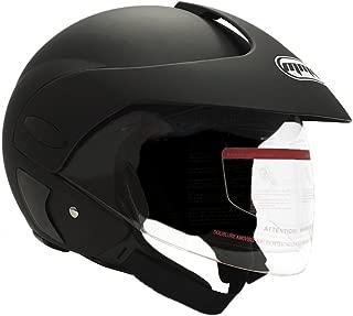 MMG 203 Motorcycle Open Face Helmet (Adult Unisex) DOT Street Legal, Flip Up Clear Visor, Matte Black, Medium