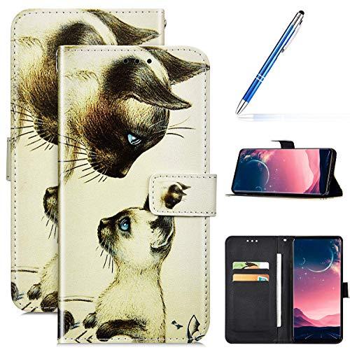 Kompatibel mit Samsung Galaxy A51 Leder Hülle Handytasche Handyhülle Bunt Motiv Muster Hülle Klappbar Schutzhülle Flip Wallet Case Brieftasche Leder Klapphülle Wallet Case Tasche,Zwei Katzen