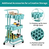 alvorog 3-Tier Rolling Utility Cart Storage Shelves Multifunction Storage Trolley Service Cart with Mesh Basket Handles and Wheels Easy Assembly for Bathroom, Kitchen, Office (Blue)