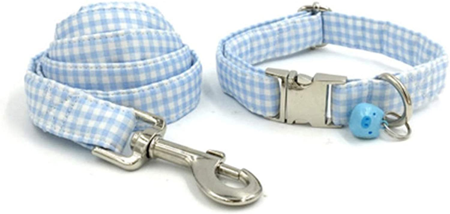 Beatybag bluee Plaid Dog Collar with bluee Pig Bell and Bow Cotton Dog&Cat Necklace Adjustable Dog Collars and Dog Leash Pet Supply Collar and Leash M