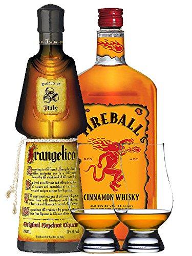 Fireball 0,7 Liter + Frangelico 0,7 Liter + 2 Glencairn Gläser