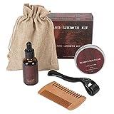 Kit de crecimiento de barba para hombre, crema de aceite para bigote, 540, rodillo de microagujas, peine de 60G, conjunto de cuidado de barba