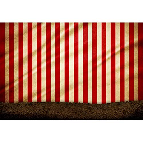 YongFoto 2,2x1,5m Vinilo Fondo de Fotografia Fondo Rayado Amarillo Rojo de la Pared Carpa de Circo Contorno Montículo Telón de Fondo Photo Booth Infantil Party Banner Photo Studio Atrezzo