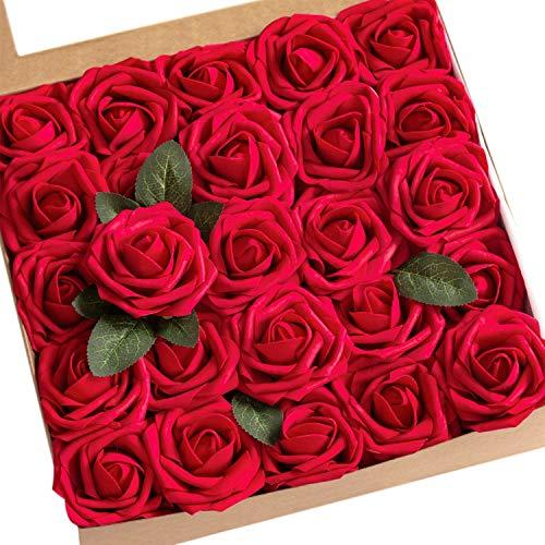 Ruiuzioong Künstliche 25 Stück Rosen Blumen Schaumrosen Foamrosen Kunstblumen Rosenköpfe Gefälschte Kunstrose Rose für Hochzeit Blumensträuße Braut Zuhause Dekoration (Rot, 25 Stück)