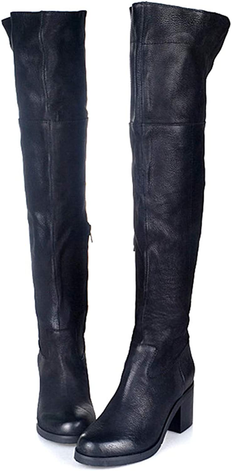 Black Genuine Leather High Heels Boot Winter Plush in Over The Knee shoes