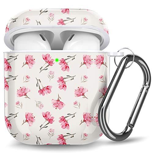 Ouwegaga Kompatibel mit Airpods Hülle, Floral Bedruckt Stoßfeste Schutzhülle TPU Hülle Kompatibel mit Airpods 2 und 1, Unterstützt Kabelloses Laden, Muster Blumen