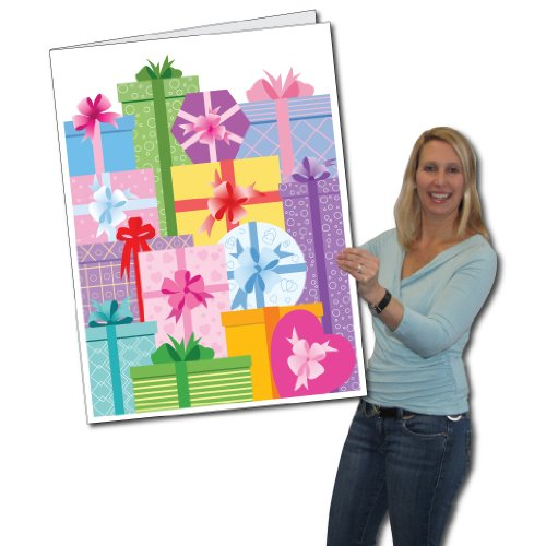 VictoryStore Jumbo Greeting Cards: Giant Birthday Card (Presents) 2 feet x 3 feet card with envelope