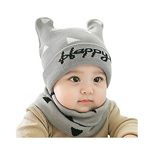 Fortuning's JDS® Chapeau doux chaud d'hiver avec des écharpes de cadeau de Noël d'écharpe écharpe pour 0-12 mois bébé