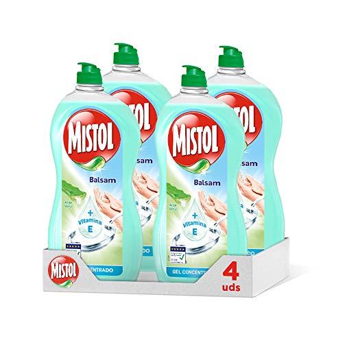 Mistol Mistor Balsam, Gel Concentrado, Lavavajillas Mano con Aloe Vera, 950 Mililitros, 4 Unidades, 3800 Mililitros