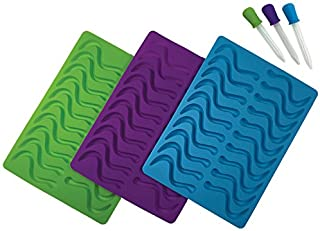 Better Kitchen Products, 3 Piece, 20 Cavity Silicone Gummy Worm Molds with 3 Matching Droppers, Purple, Aqua and Lime