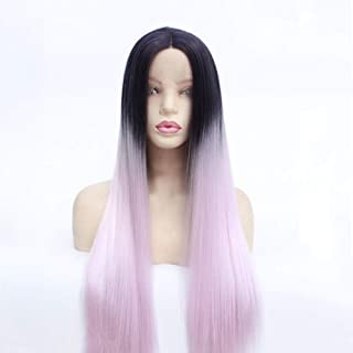 Nkns Ladies Wig Long Straight Hair Wig Three-Color Mid-Wig Wig Lace Chemical Fiber High Temperature Silk Wig Black + PinkWigs For Black Women Human Hair