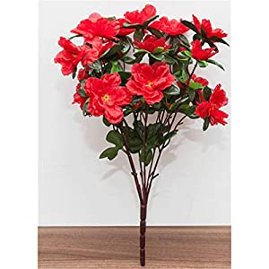 Baisheng Artificial Flowers Rhododendron simsii Planch Silk Flower Party Festival Xmas Bouquets Home Wedding Decoration(9 Bunch-Big Red)