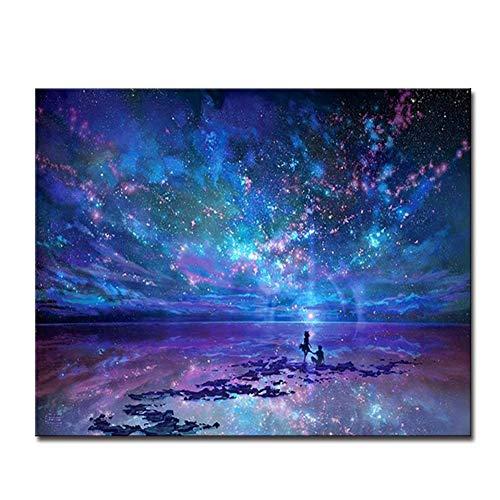 Fantasie Romantische Ster Zee Schilderen op nummer Sterrenhemel Aurora Olie Foto's Handverf Kleurplaat Canvas Muurdecoratie aan de muur - 50x70cm Geen lijst
