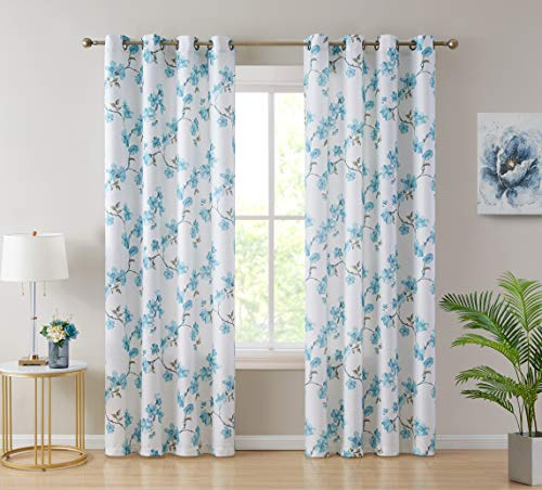 HLC.ME Jade Floral Decorative Textured Light Filtering Grommet Window Treatment Curtain Drapery Panels for Bedroom & Living Room - Set of 2 Panels (54 x 96 inches Long, Teal Blue)