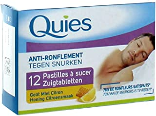 Quies Anti-Snoring Lozenges - Honey and Lemon - 2 Packs x 12 Lozenges (24 Lozenges)