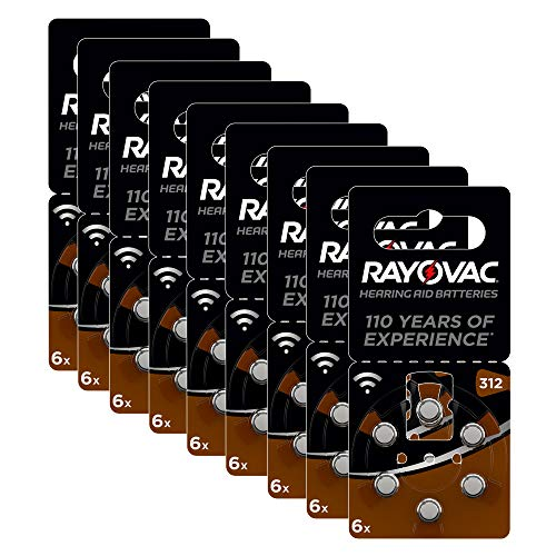 Rayovac Acoustic Zinc Air Hearing Aid Batteries, Size 312 SU, Brown Tab, Pack of...