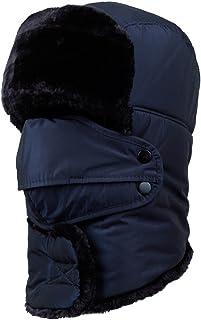 Winter Trapper Men Hat Ushanka Russian Windproof Mask Women Outdoor Skiing Hat(Navy)
