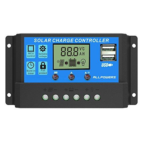 ソーラーチャージャーコントローラー ALLPOWERS 20A 12V/24V LCD 充電コントローラー 電流ディスプレイ 液...