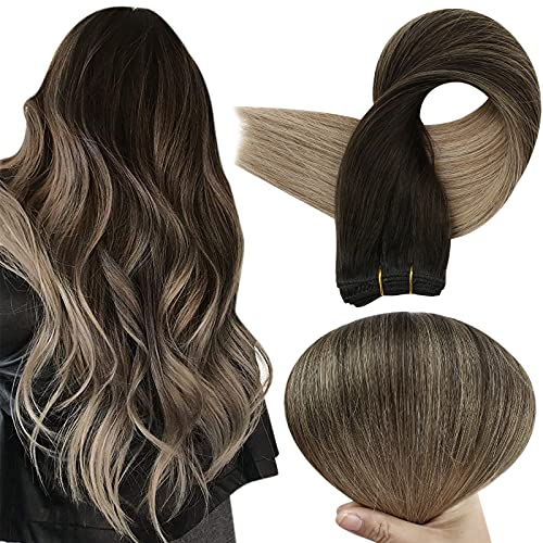Full Shine Hair Weft Extensions 20 Inch Remy Human Hair Sew in Extensions Balayage Color 2 Darkest Brown Fading to 6 Chestnut Brown and 18 Ash Blonde Weft Hair Bundles 100 Gram