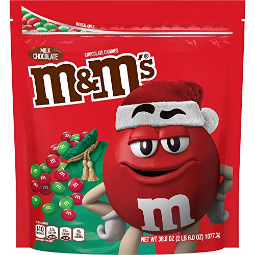 M&Ms Milk Chocolate Red & Green Christmas Candy, Great for Holiday Baking, 38 Oz