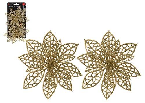 Snow White 2 x Plastic Clip On Gold Poinsettia Christmas Tree Decoration
