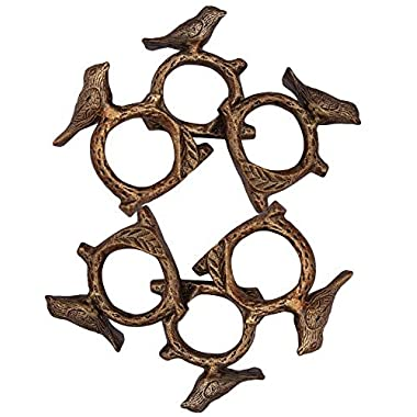ITOS365 Handmade Songbird Bird on Tree Branch - Aluminium Metal Napkin Rings Holder for Dinning Table Parties Everyday, Set of 6