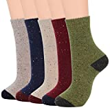 Womens Wool Socks Winter Warm Athletic Crew Long Fall Socks Thick Indoor Socks Hiking Sports Socks B (5/Multicolor)