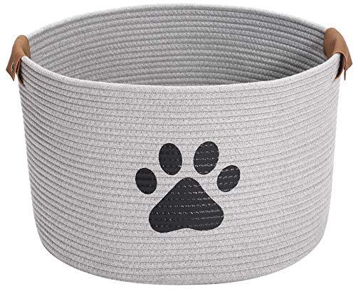 Geyecete Canasta de almacenamiento de juguete para perro redondo Canasta de almacenamiento de cuerda de almacenamiento para mascotas/Doy Toy Box Canasta de almacenamiento de perros-gris