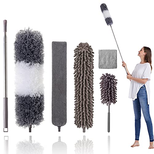 """Microfiber Duster Kit for High Ceiling (6pcs), Extendable Dusters for Cleaning with 100"""" Extension Pole, Long Microfiber Feather Duster for Ceiling Fan/Car, House Cleaning Tool Kit by OOSOFITT"""