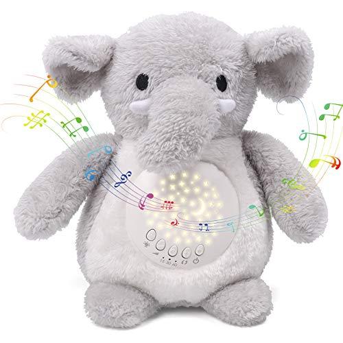 Umitive Ayuda para Dormir para Bebé, Peluche Bebés Musical con Ruido Blanco Canciones de Cuna y Proyector de Estrellas y Temporizador Automático Juguete de Elefante Lavable para Cochecitos o Cuna