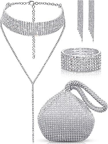 Quelay Juego de 4 piezas de joyería de cristal para mujer con diamantes de imitación y borla de diamantes de imitación para bodas
