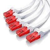CSL - 5x 0,25m Cable Plano de Red Gigabit Ethernet LAN Cat.6 RJ45-10 100 1000Mbit s - Cable de conexión a Red Slim Design - UTP - Compatible con Cat.5 Cat.5e Cat.7