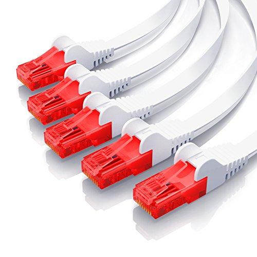 CSL - 5X 0,25m Cable Plano de Red Gigabit Ethernet LAN Cat.6...