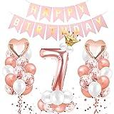 O-Kinee Cumpleaños Globos 7, Decoración de cumpleaños 7 en Oro Rosa, 7er Cumpleaños Globos, Feliz cumpleaños Decoración Globos 7 Años, Globos Numeros para Cumpleaños, Fiesta, Decoración