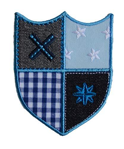 TrickyBoo 2 opstrijkbare fee Sophie 11 x 7 cm blauw ruiten ster 9 x 9 cm set patch applicaties voor het repareren van kinderkleding met design Zürich Zwitserland voor Duitsland en Oostenrijk