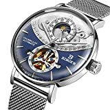 BINGER Suiza Reloj automático para Hombre Movimiento Zafiro de Japon Relojes mecánicos Esqueleto de los Hombres Zafiro de Acero Completo a Prueba de Agua 10002,G