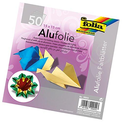 folia 9955 - Faltblätter aus Alufolie, uni, 15 x 15 cm, 100 g/qm, 50 Blatt, farbig sortiert - ideal zum Papierfalten und für andere kreative Bastelarbeiten