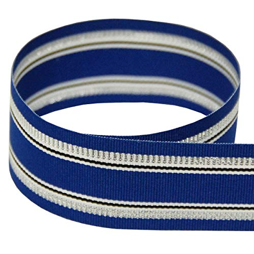 USA   American Made 1-1/2' Blue Holiday Grosgrain Ribbon (Blue, White, and Silver Tinsel Striped Ribbon) - 20 Yards