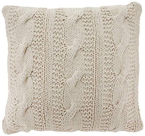 """20""""x20"""" Cable Knit Design Throw Pillow Vanilla - Saro Lifestyle"""